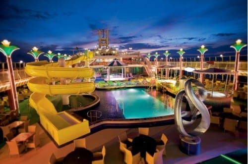 The NCL Pearl boasts an extensive waterpark.  Image courtesy of NCL