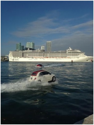 MSC Divina Debuts in PortMiami Escorted by Fleet of Stylish FIAT Watercraft.  Image courtesy of MSC Cruises.